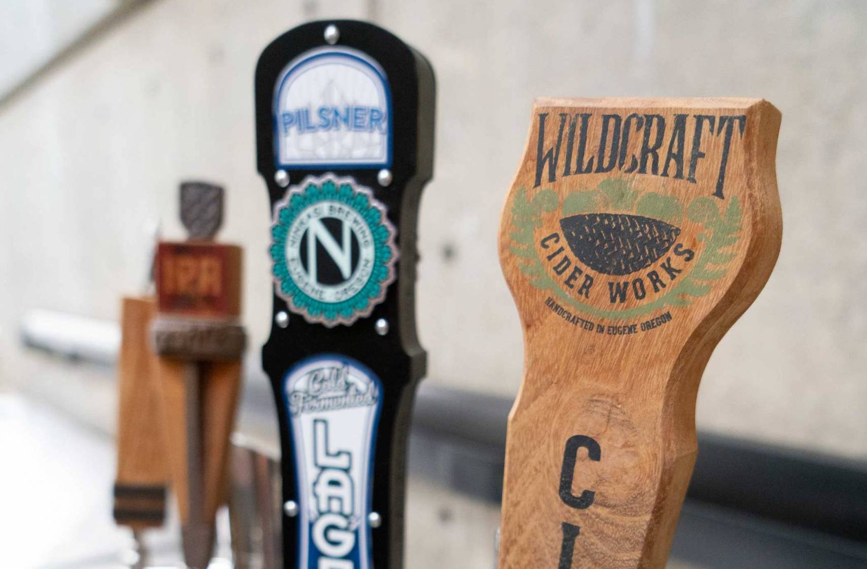 Local beer and cider tap handles
