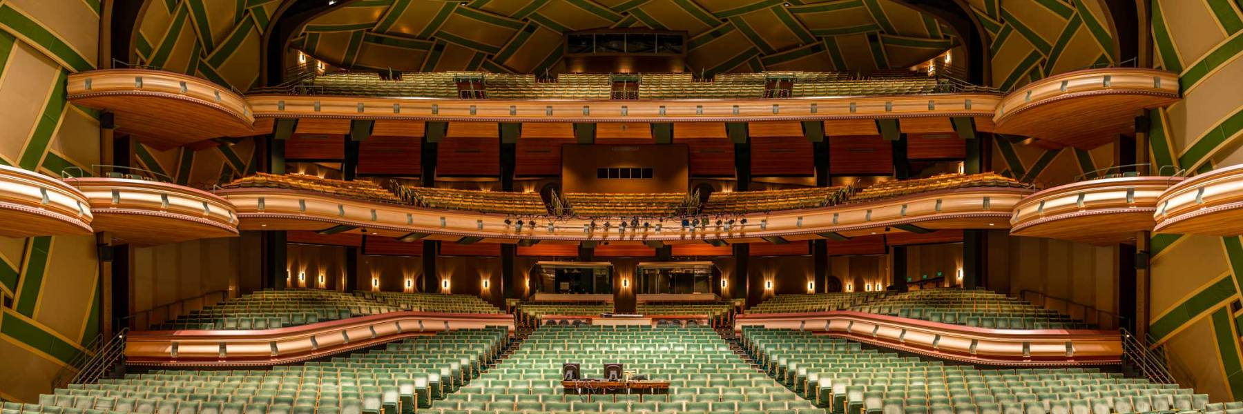 Wide angle view from the stage of Silva Concert Hall