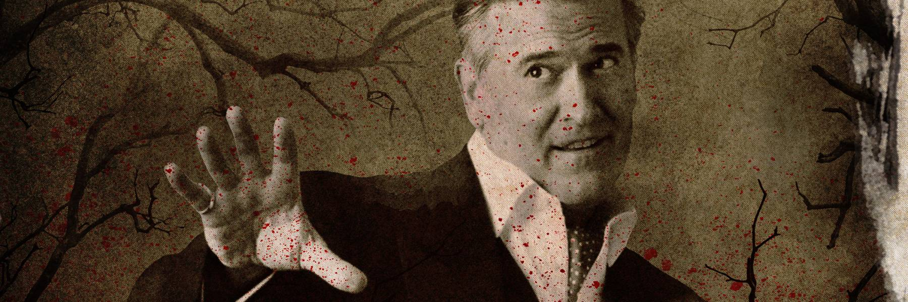 Blood spattered image of Bruce Campbell